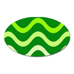 Green waves Oval Magnet