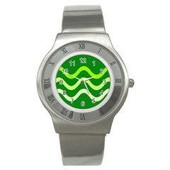 Green waves Stainless Steel Watch