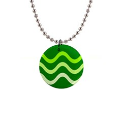 Green waves Button Necklaces