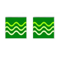 Green waves Cufflinks (Square)