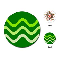 Green waves Playing Cards (Round)