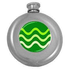Green waves Round Hip Flask (5 oz)