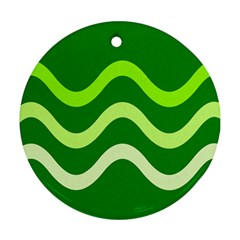 Green waves Round Ornament (Two Sides)