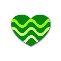 Green waves Rubber Coaster (Heart)