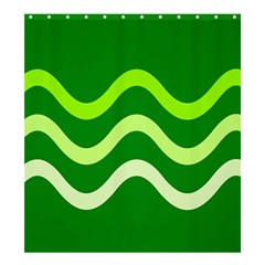 Green waves Shower Curtain 66  x 72  (Large)