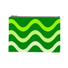 Green waves Cosmetic Bag (Large)