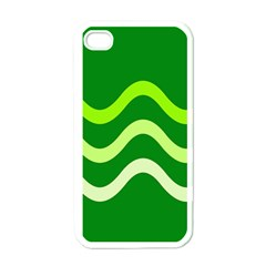 Green waves Apple iPhone 4 Case (White)