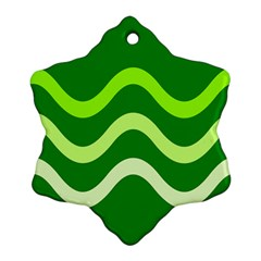 Green waves Snowflake Ornament (2-Side)