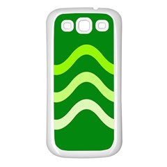 Green waves Samsung Galaxy S3 Back Case (White)