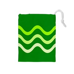 Green waves Drawstring Pouches (Medium)
