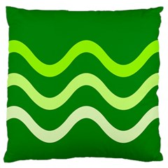 Green waves Large Flano Cushion Case (One Side)