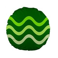 Green waves Standard 15  Premium Flano Round Cushions