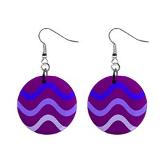 Purple Waves Mini Button Earrings