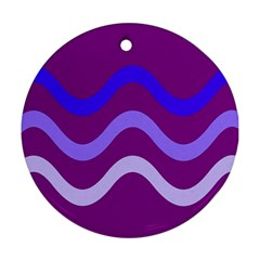 Purple Waves Round Ornament (Two Sides)
