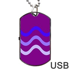 Purple Waves Dog Tag USB Flash (Two Sides)