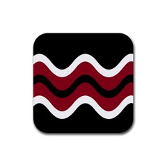 Decorative waves Rubber Square Coaster (4 pack)