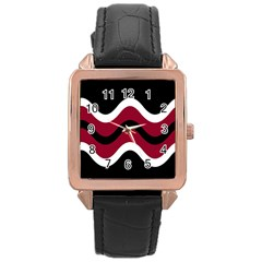 Decorative waves Rose Gold Leather Watch