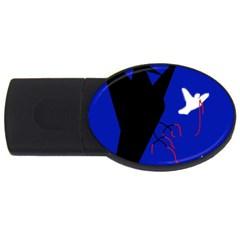 Night birds  USB Flash Drive Oval (1 GB)