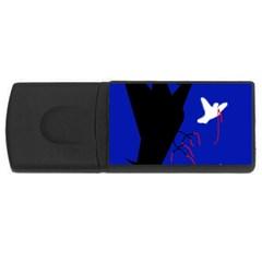 Night birds  USB Flash Drive Rectangular (1 GB)