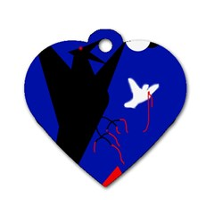 Night birds  Dog Tag Heart (Two Sides)