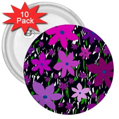 Purple Fowers 3  Buttons (10 pack)