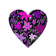 Purple Fowers Heart Magnet