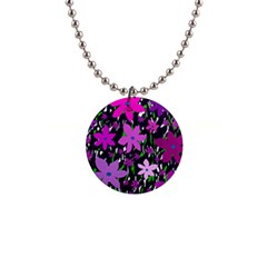 Purple Fowers Button Necklaces
