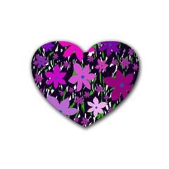 Purple Fowers Rubber Coaster (Heart)