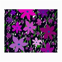 Purple Fowers Small Glasses Cloth (2-Side)