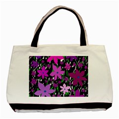 Purple Fowers Basic Tote Bag (Two Sides)