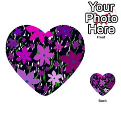 Purple Fowers Multi-purpose Cards (Heart)