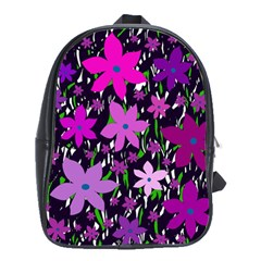 Purple Fowers School Bags(Large)