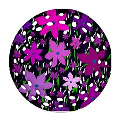 Purple Fowers Round Filigree Ornament (2Side)