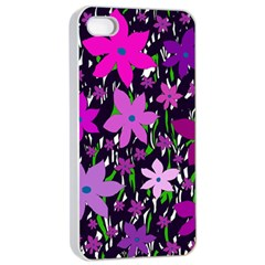 Purple Fowers Apple iPhone 4/4s Seamless Case (White)