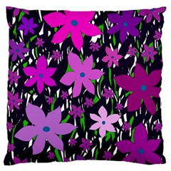 Purple Fowers Large Cushion Case (One Side)