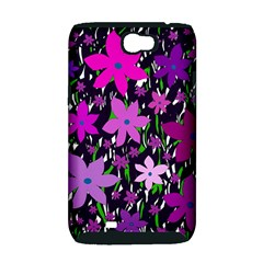 Purple Fowers Samsung Galaxy Note 2 Hardshell Case (PC+Silicone)