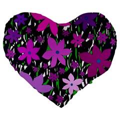 Purple Fowers Large 19  Premium Heart Shape Cushions