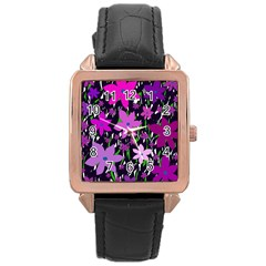 Purple Fowers Rose Gold Leather Watch