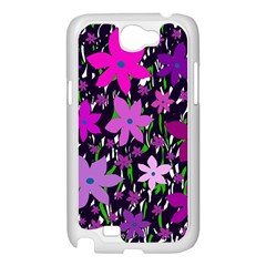Purple Fowers Samsung Galaxy Note 2 Case (White)