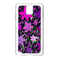Purple Fowers Samsung Galaxy Note 3 N9005 Case (White)