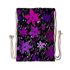 Purple Fowers Drawstring Bag (Small)