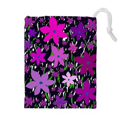 Purple Fowers Drawstring Pouches (extra Large)