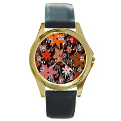 Orange flowers  Round Gold Metal Watch