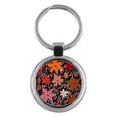 Orange flowers  Key Chains (Round)