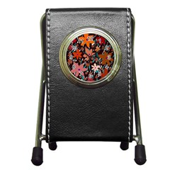 Orange flowers  Pen Holder Desk Clocks