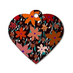 Orange flowers  Dog Tag Heart (Two Sides)
