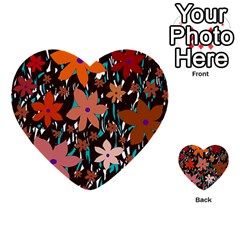Orange flowers  Multi-purpose Cards (Heart)