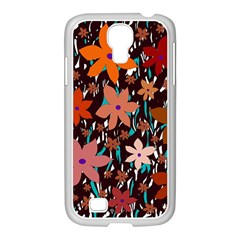 Orange flowers  Samsung GALAXY S4 I9500/ I9505 Case (White)