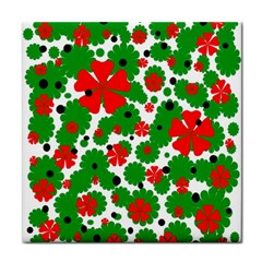 Red and green Christmas design  Tile Coasters