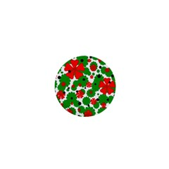 Red and green Christmas design  1  Mini Buttons
